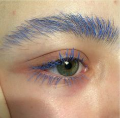 blue eyebrows, blue lashes