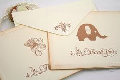 brown stamps, antiqued edges, cute elephant