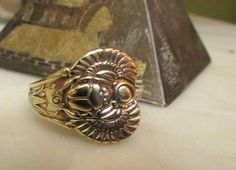 Egyptian Scarab Spoon ring. Brass Scarab spoon ring. Egyptian Revival. Silverware jewelry.Custom sizes.