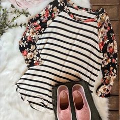 Get ready for this weekend in this adorable outfit!💕 Floral & Stripe Raglan Tee $30 Size Large  Olive Bootcut Pant $39 New Velvette Boat Shoe $24 w/Sale Sizes 5-10  Pink Blanket Scarf $23.20 w/Sale *Shoes available on our website, link in bio.
