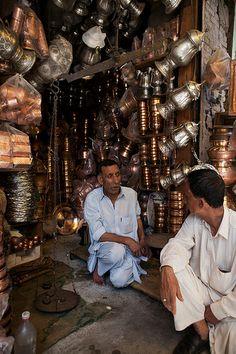 Copperware shop in the main market place, Kashmir, India