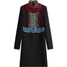 Valentino Vrigin Wool-Silk Dress ($4,390) ❤ liked on Polyvore featuring dresses, black, kohl dresses, silk cocktail dress, silk dress, black cocktail dresses and wool dress