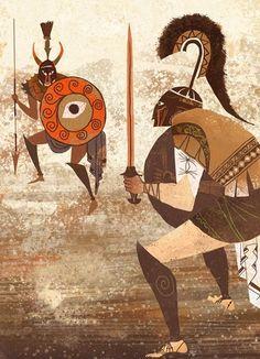 Illustration by Alice and Martin Provensen Provensen's Iliad. Illustration by Alice and Martin Provensen Alice Martin, Ancient Greek Art, Children's Book Illustration, Art Design, Fantasy Art, Concept Art, Character Design, Painting, Drawings
