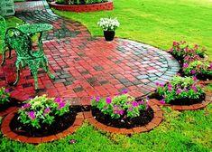 Backyard Brick Sidewalk & Patio home outdoors garden path brick walkway yard backyard patio diy home projects