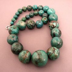 """33 nice old turquoises from Laddak (India) ... a splendid necklace with a silver clasp ... Lenght : 66cm/25,98 inch Weight : 351 gr For sale(1200€) in my shop at 28,Galerie du Roi at 1000 Brussels and soon on my website www.halter-ethnic.com, item """"My lucky Finds"""""""