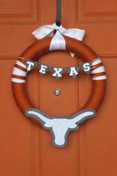 Texas Longhorn Yarn & Felt Football Wreath