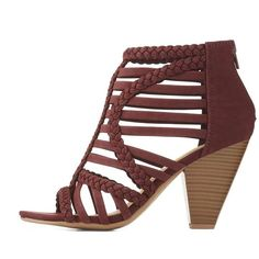 Charlotte Russe Braided Caged Sandals ($25) ❤ liked on Polyvore featuring shoes, sandals, burgundy, zipper sandals, cage sandals, rubber shoes, cushioned shoes and woven sandals