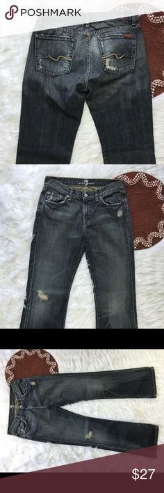 """7 For All Mankind Size 29 Distressed 31""""Inseam ⭐️ Great item , please see pictures for more information   There are NO Major Flaws with this item. If you notice a flaw that we did not mention, please contact us first before leaving negative feedback. We are only human and may make a mistake once in a while.   From Smoke Free Home     Fast Shipping 7 For All Mankind Jeans Boot Cut"""