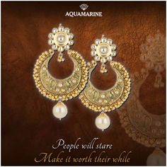 People stare, make it worth their while, with this set of golden chaand baalis with beautiful drop pearls. Available at all Aquamarine stores.  #aquamarine_jewellery #earrings #designerjewellery #accessories #chaandbaali #indianjewellery #love #fashion #style #aquamarine