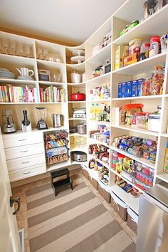 { New House Tour } Pantry Makeover Before AND After Photos My dream pantry! { New House Tour } Pantry Makeover Before AND After Photos! Pantry Room, Pantry Storage, Walk In Pantry, Corner Storage, Corner Shelves, Small Pantry, Kitchen Storage, Large Pantry Ideas, Storage Bins