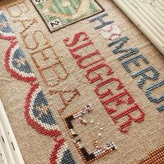"""Diane on Instagram: """"Are you ready for some baseball?? We are!  #littlehouseneedleworks #crossstitch #classiccolorworks #baseball #needlework #chicagocubs"""" Little House Needleworks, Crossstitch, Chicago Cubs, Bohemian Rug, Baseball, Classic, Instagram, Color, Home Decor"""