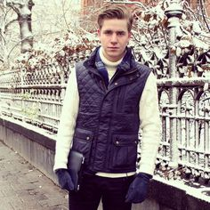Pictured in Stockholm's first snow of the season, Martin King of www.kingmagazine.se in Tommy Hilfiger