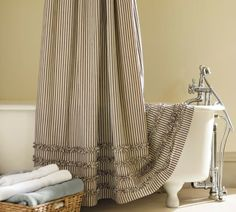 Ticking Stripe Ruffled Shower Curtain - traditional - shower curtains - Pottery Barn So pretty! Pottery Barn Shower Curtain, Burlap Shower Curtains, Long Shower Curtains, No Sew Curtains, Striped Shower Curtains, Curtains For Sale, Cafe Curtains, Bathroom Curtains, Window Curtains
