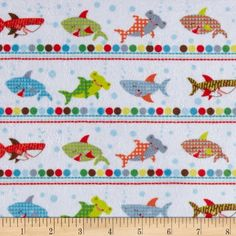Minky Swimming With The Sharks Coastal Blue Fabric By The Yard Minky Fabric, Blue Fabric, Wall Fabric, Light Blue Background, Weighted Blanket, Fabulous Fabrics, Sharks, Baby Accessories, Wall Design
