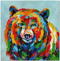 Colorful Grizzly Bear - Hand Painted Impressionistic Wildlife Animal Oil Painting On Canvas Textured Surface Effect