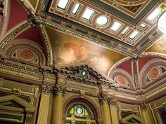 Wall and Ceiling Detail - Renaissance Room - Masonic Hall of the Grand Lodge of Free and Accepted Masons of the State of New York Grand Lodge, Masonic Symbols, Ceiling Detail, Freemasonry, Beautiful Architecture, Lodges, Louvre, Around The Worlds, New York