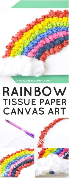 Tissue Paper Rainbow Canvas Art Idea for Kids to Make. Fun Spring Craft for Kids.