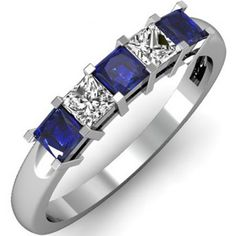 Share for $20 off your purchase of $100 or more! 0.75 Carat (ctw) 10k White Gold Princess Cut Blue Sapphire and White Diamond Ladies 5 Stone Bridal Wedding Band Anniversary Ring 3/4 CT - Dazzling Rock #https://www.pinterest.com/dazzlingrock/