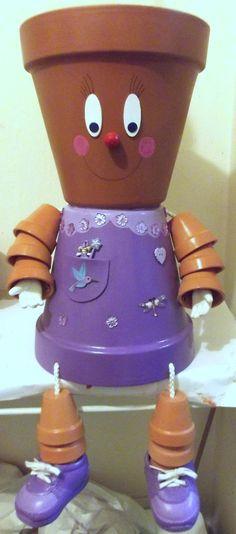purple dress Flower Pot Art, Flower Pot Crafts, Flower Pots, Clay Pot Projects, Clay Pot Crafts, Projects To Try, Flower Pot People, Clay Pot People, Cute Crafts