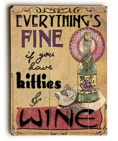 Another great find on #zulily! 'Kitties & Wine' Wall Plaque #zulilyfinds