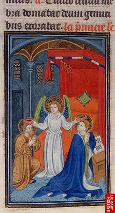 An angel crowns Saints Valerian and Cecilia   (British Library, Harley 2897, fol. 440v), c. 1413-19