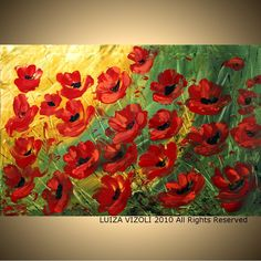 RED POPPIES Large Giclee Flowers from Original by vizoliartprints