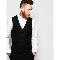 ASOS Wedding Vest In Black ($36) ❤ liked on Polyvore featuring men's fashion, men's clothing, men's outerwear, men's vests, black, mens vest, mens wedding vests, mens vests outerwear and mens tall vest