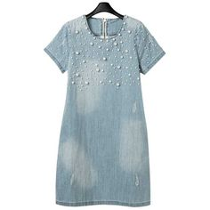 Women's Plus-size Fashion Denim Dress with Pearl * Startling review available here  : Plus size dresses