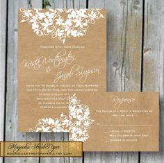 Printable Rustic Wedding Invitation, Lace and Brown Kraft Invitation, Custom Printable, Includes RSVP, Wedding Suite, Elegant Wedding