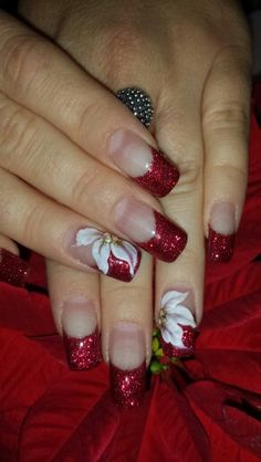 3D color acrylic nails Christmas design