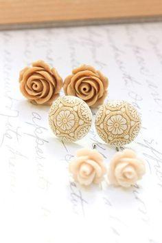 Tan Flower Earrings Rose Studs Brown Neutral by apocketofposies
