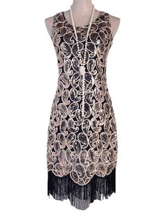 PrettyGuide Women's 1920s Sequin Paisley Racer Back Tassels Hem Flapper Cocktail Dress S Black