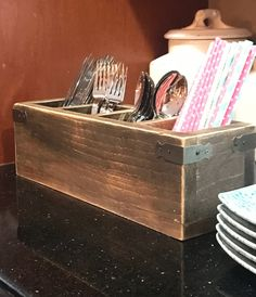 Wooden Utensil Holder Utensil Caddy Makeup by MyBeachyFarmhouse. make individual ones like this Custom Woodworking, Woodworking Projects Plans, Teds Woodworking, Wooden Utensil Holder, Utensil Caddy, Rustic Wooden Box, Wooden Boxes, Wooden Makeup Organizer, Kitchen Storage Boxes