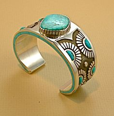 Cuff | Kirk Smith (Navajo).  Silver and Kingman Turquoise
