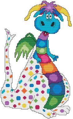 Cute Dragon Cross Stitch - click on blue links to go to patterns What a cute Dragon Arnold !! Chart lists the suggested DMC floss colors, ...