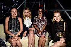 They're in fashion: Bel Powley, Elizabeth Olsen and Kiernan Shipka inside the fashion bash...