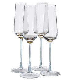9bc4b010bea4 Set Of 4 Smoked Stem Glass Flutes