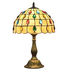 12inch European Pastoral Retro Style Table Lamp Colorful Gem Shade Bedroom Living Room Dining Room Lights