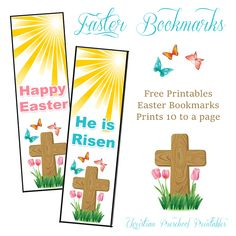 Easter Bookmarks. Great for Children's Church, Outreach, Easter Cards and more. Encourage children to hand these out to their friends, prints 10 to a page.
