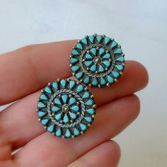 Old Pawn Vintage NATIVE American TURQUOISE Earrings Signed C.K. Zuni Petit Point Cluster STERLING Silver Setting c.1950s #NativeAmerican #ZuniEarrings