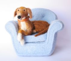 needle felted dog in needle felted chair  Laurel Lee Burch