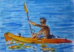 ACEO Original Watercolor Painting Kayak Original art work in Watercolors  #Realism