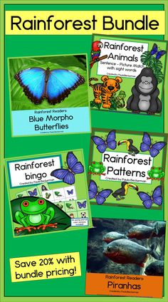 Reading, Math and Science learning come together in this Rainforest Bundle… Kindergarten Math Activities, Teaching Science, Kindergarten Activities, Science Activities, Science Ideas, Teaching Resources, Teaching Ideas, Morpho Butterfly, Blue Morpho