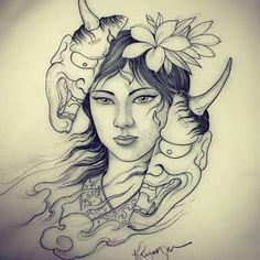 Woman hannya done by Hannya Mask Tattoo, Hanya Tattoo, Sak Yant Tattoo, Geisha Tattoos, Tattoo Mascara, Japanese Demon Tattoo, Japanese Tattoo Women, Body Art Tattoos, Sleeve Tattoos