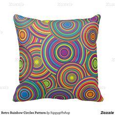 Retro #Rainbow Circles Pattern Throw #Pillow