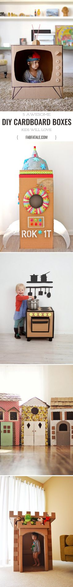 self play builds creativity - keep your toddler busy for hours in one of these diy cardboard box crafts