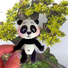 3 8cm Panda Bear. Tiny Amigurumi Panda Bear. OOAK by MissyVille