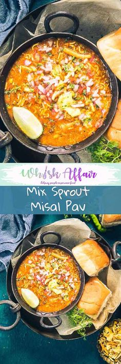 Enjoy this Maharashtrian Mix Beans Misal Pav Recipe with a side of Pav. It's a great dish for breakfast and brunch and is healthy as well. #Street #Food #Recipe #Indian #Vegetarian #Healthy #Vegan via @WhiskAffair