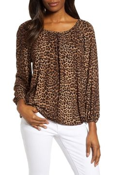 online shopping for MICHAEL Michael Kors Leopard Spot Peasant Top from top store. See new offer for MICHAEL Michael Kors Leopard Spot Peasant Top Peasant Blouse, Peasant Tops, Bow Tank Tops, Leopard Blouse, Belted Cardigan, Animal Print Fashion, Leopard Spots, Michael Kors Tops, Long Sleeve Bodysuit
