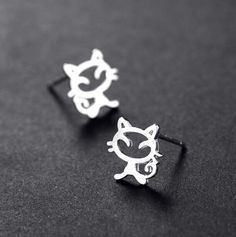sterling silver cat stud earring wedding luxury fashion jewelry women lovely small cute lady 925 silver earring for engagement